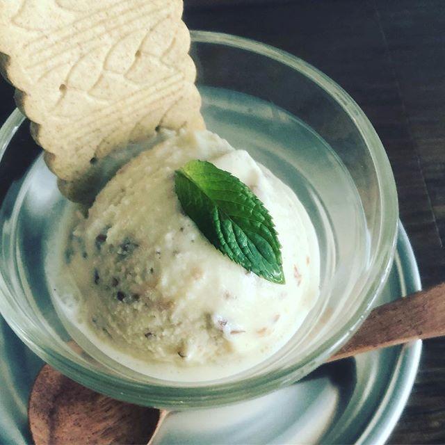 ラムレーズンアイスクリーム始めました。今日から自家製アイスクリームがスイーツメニューに加わりました。葉の園の自家製ラムレーズン。数種類のスパイスをラム酒にじっくり漬け込み、出来上がったレーズンはスパイスの香りとラムの香りが口いっぱいに広がって、大人のアイスクリームに全粒粉ビスケットを添えて。※数量限定です。#手作りアイスクリーム #スパイス #自家製ラムレーズン #大人のアイスクリーム (Instagram)