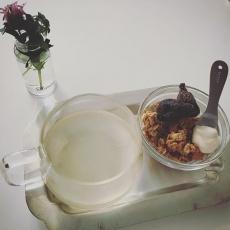 無花果を豆乳クリーム